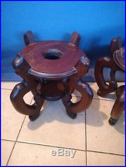 Large Pair Oriental Style Wooden Pot/Vase /Planter/Urn Stands/Bases
