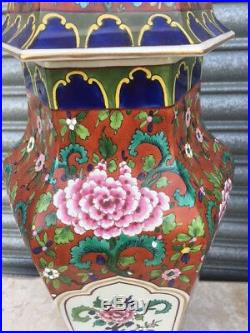 Large Pair of Antique Hand Painted Hexagonal Lidded Chinese Vases