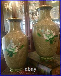 Large Pair of Chinese Enamel Brass 10H Vases Cloisonné Vintage