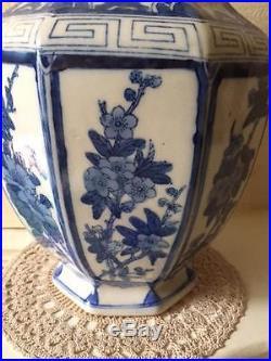 Large Qing Dynasty Export Vase 8 sided Blue & White Floral / Blossom Decoration
