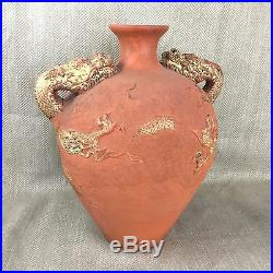 Large Terracotta Urn Jar Chinese Dragon Asian Oriental Gold Painted