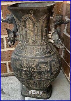 Large Very Rare Old 17 Century Chinese Ming Antique DRAGON Vase Urn Metal Pot
