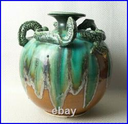 Large Vintage Asian Brown & Spectacular Green Glaze Pottery Dragon Vase