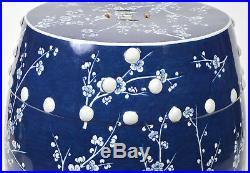 Large Vintage Chinese Blue and White Garden Seat or Stool