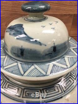 Large Vintage Chinese Blue and White Ginger Jar 19 Tall