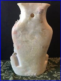 Large Vintage Chinese Carved SOAPSTONE Vase with high relief Floral Signed