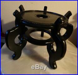 Large Vintage Chinese Carved Wood Display Stand Base Fish Bowl Vase Urn 11.5