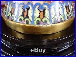 Large Vintage Chinese Cloisonne Temple Jar 20 High