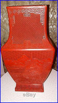 Large Vintage Chinese Floral & Landscape Red Vase Cinnabar Style
