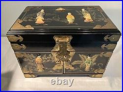 Large Vintage Chinese Painted Stone Decorated Lacquered Jewlery Box Set Drawers