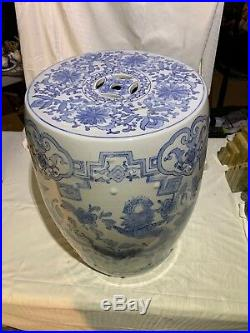Large Vintage Chinese White And Blue Garden Seat or Stool