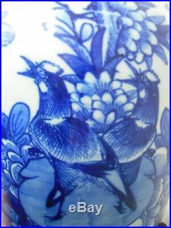 Large antique B/W Chinese vase with a decoration of birds & flowers 19th cent