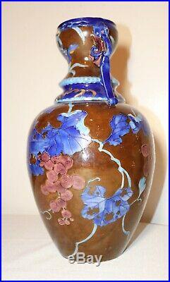 Large antique Chinese hand enameled pottery figural handle terra-cotta vase urn