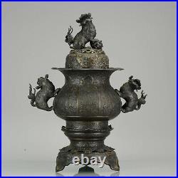 Large ca 1900 Antique Chinese Bronze Incense Burner Temple Lions