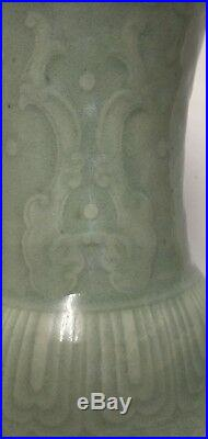 Large celadon vase. Qing Qianlong Mark