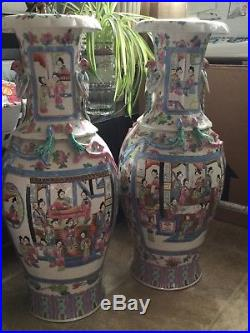 Large pair of beautiful chinese antique vases