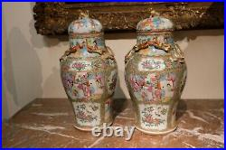 Lovely Pair of Large Antique Chinese Rose Medallion Vases, 19th C
