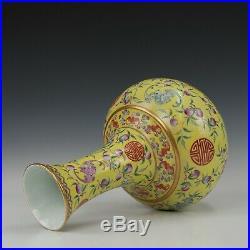 Nice large Chinese yellow vase, 20th century, marked Guangxu