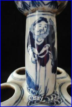 Old Large Chinese Blue and White Porcelain Lotus Vase Signed KangXi
