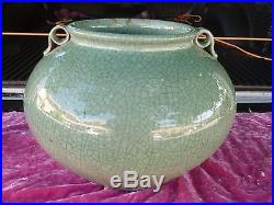 Old Large Chinese Celadon Vase With Handles