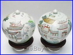 PAIR of LARGE ANTIQUE 19c QING CHINESE SCHOLAR GARDEN SCENE PORCELAIN GINGER JAR