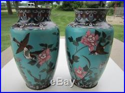 Pair Antique Large Chinese Cloisonne Metal Birds & Flowers Decorated Vases