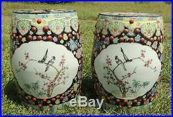 Pair Antique/Vtg Large Chinese Porcelain BIRD Barrel Garden Pedestal Stool Seats