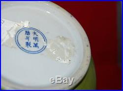Pair Chinese Porcelain Apple Green Minute Crackle Glaze Monochrome Large Vases