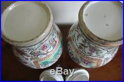 Pair Large Chinese Canton Famille Rose Vases and Covers 19th Century Circa 1860