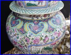 Pair Large Chinese Porcelain Ming Ginger Urns Lidded Vases