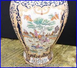 Pair Large Chinese Qing Porcelain Temple Ginger Jars Lidded Vases Urns
