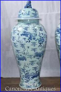 Pair Ming Porcelain Temple Urns Jars Large Blue and White Vases