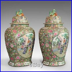 Pair Of, Large Vintage Baluster Urns, Oriental, Ceramic, Art Deco, Circa 1940