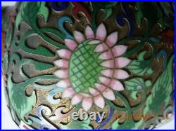 Pair large antique cloisonne champleve vases green & pink flowers red white
