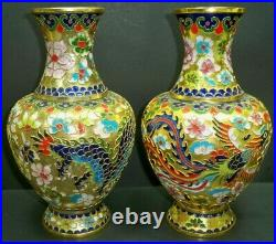 Pair of Beautiful Vintage Cloisonné Dragon Brass Enameled Large 10 Tall Vases