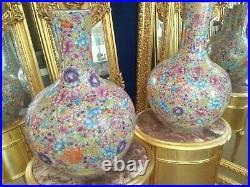 Pair of Chinese Porcelain Floral Millie Fleurs Large Vases 58cm high