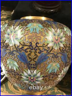 Pair of Large Chinese cloisonné Ginger Jars-pale blue/green On Gilt Background