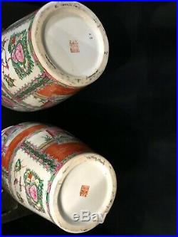 Pair of Very Large Vintage Oriental Porcelain Painted Vases