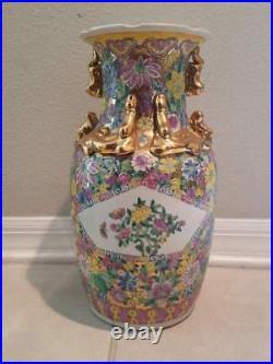 Pottery Porcelain Vase 14.5h Antique Vintage Large Chinese Painted Gold Gilt