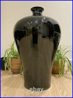 Qianlong marked & period Meiping Chrome Porcelain Vase, Black, 54cm