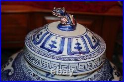 Quality Chinese Blue & White Porcelain Vase Raised Flowers Foo Dog Large Vase