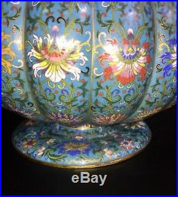 RARE! Large 16 cloisonne vase bowl De cheng mark Late Qing/Republic period