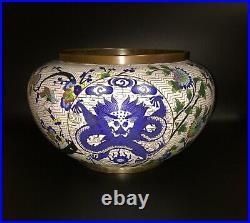 RARE! SALE! LARGE China Cloisonne Plate Bowl Dragon Enamel VASE 12