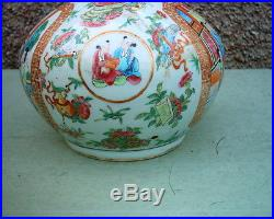 Rare Large Antique Chinese Canton Famille Rose Vase & LID