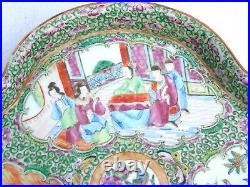 Rare Large Antique Chinese Porcelain Rose Medallion Scalloped Gilt Bowl Plate