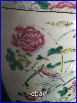STUNNING LARGE ANTIQUE 19th CENTURY CHINESE FAMILLE ROSE PORCELAIN VASE