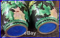 STUNNING RARE PAIR CHINESE VINTAGE LARGE 31cm BUTTERFLY CLOISONNE VASES & STANDS