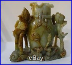 Shlf OLD CHINESE LARGE GREEN SOAPSTONE CARVED LOTUS VASE, 7 HIGH, HEAVY LARGE