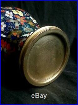 Spectacular Antique Chinese large cloisonne Mille Fleurs vase 11.5 tall