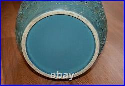 Spectacular Large Antique Chinese Turquoise Enamel Porcelain Vase Mk Qianlong